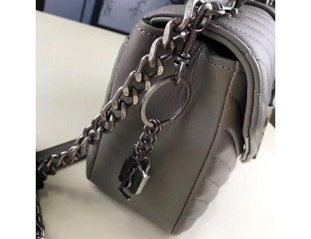 Кожаная сумка Yves Saint Laurent YSL-991210GR серая - Фото № 8