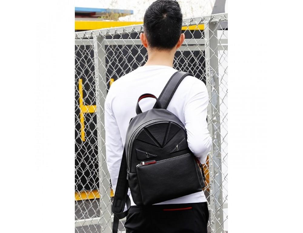 Кожаный городской рюкзак лицо Tiding Bag B3-2025A чёрный - Фото № 12