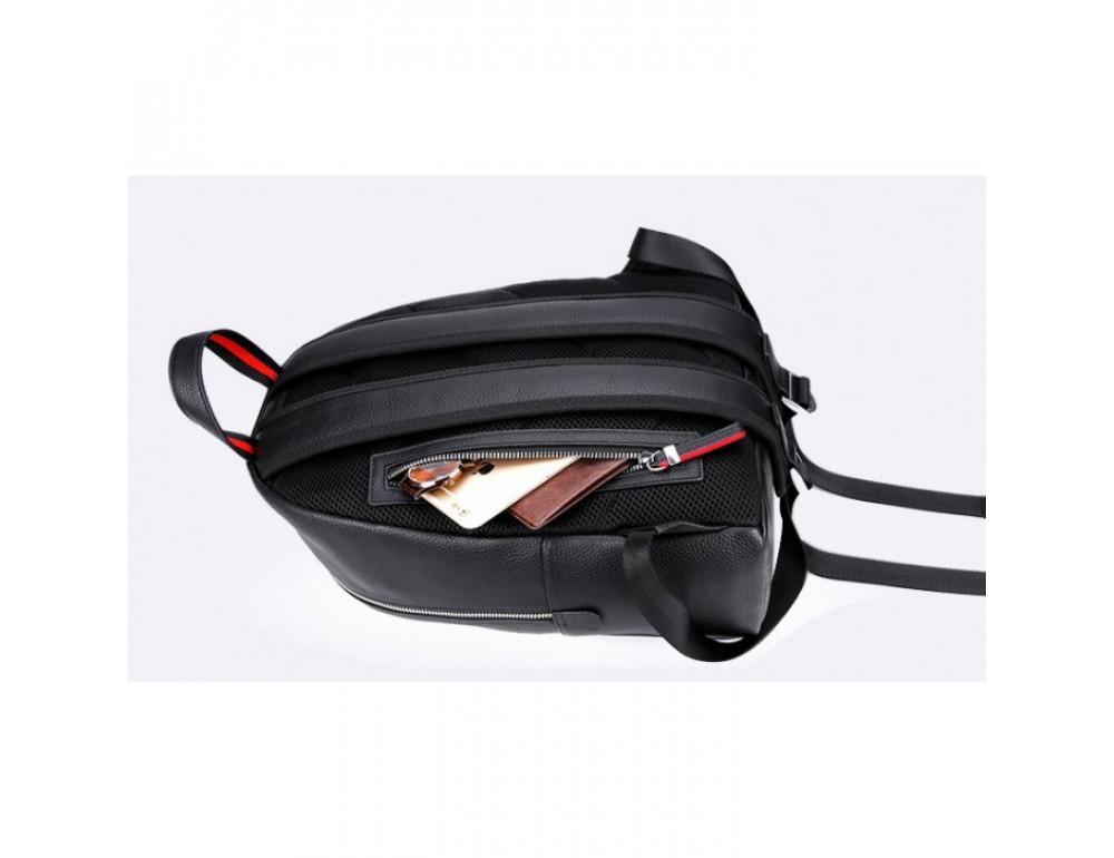 Кожаный городской рюкзак лицо Tiding Bag B3-2025A чёрный - Фото № 6