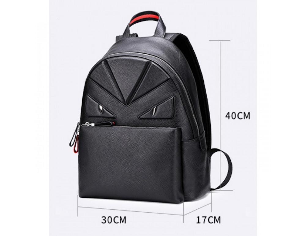 Кожаный городской рюкзак лицо Tiding Bag B3-2025A чёрный - Фото № 8