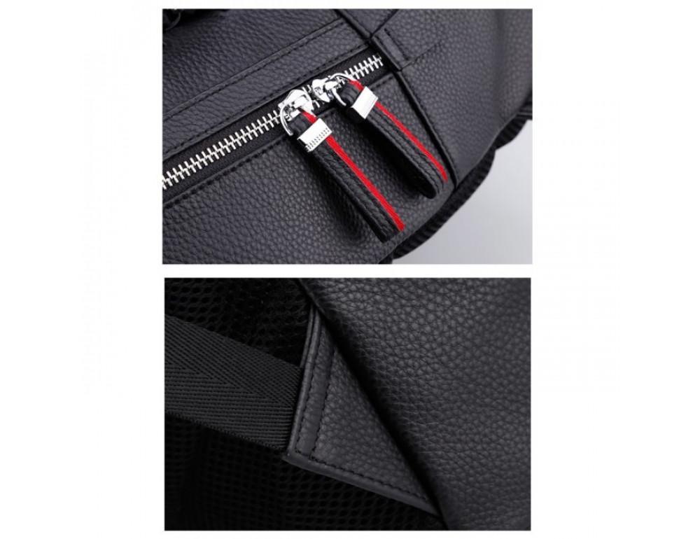 Кожаный городской рюкзак лицо Tiding Bag B3-2025A чёрный - Фото № 10