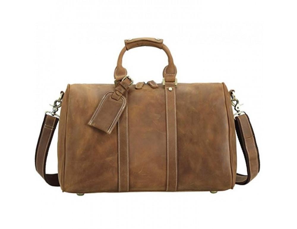 Винтажная дорожная сумка TIDING BAG 0739LB светло-коричневая - Фото № 2