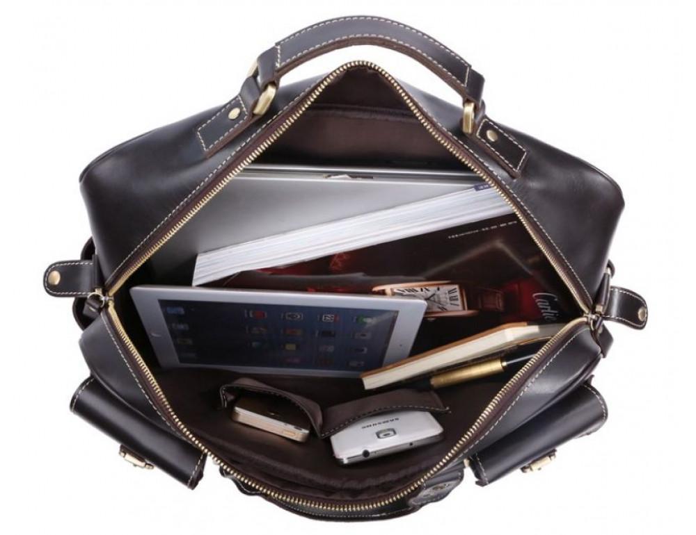 Кожаная мужская сумка TIDING BAG 7028A чёрный - Фото № 3
