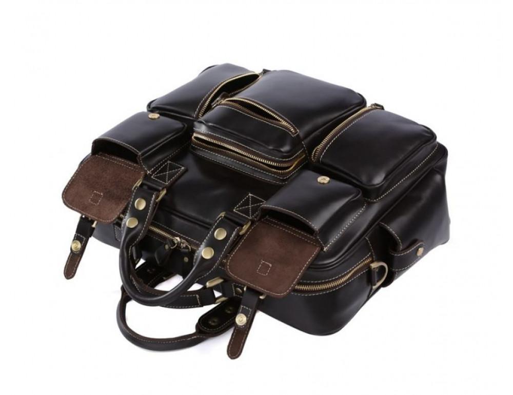 Кожаная мужская сумка TIDING BAG 7028A чёрный - Фото № 4