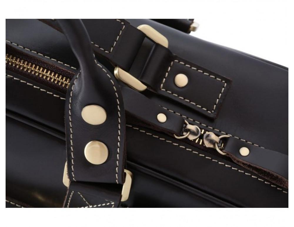 Кожаная мужская сумка TIDING BAG 7028A чёрный - Фото № 5