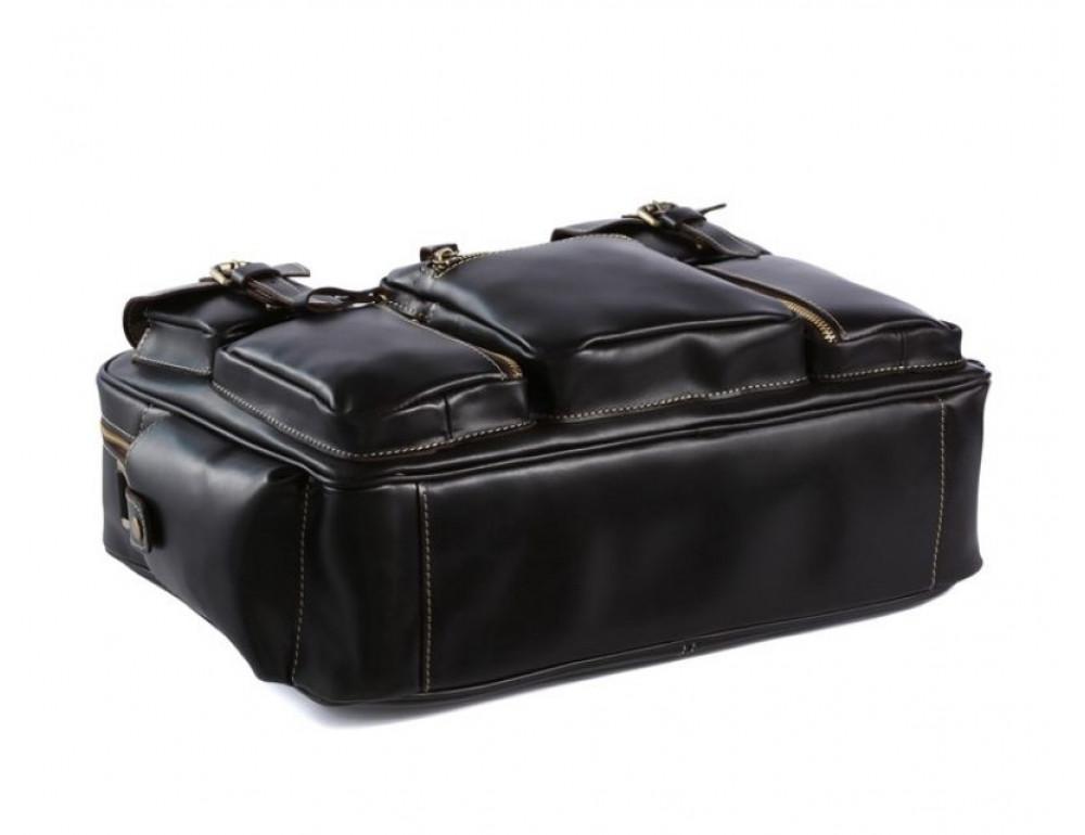 Кожаная мужская сумка TIDING BAG 7028A чёрный - Фото № 6