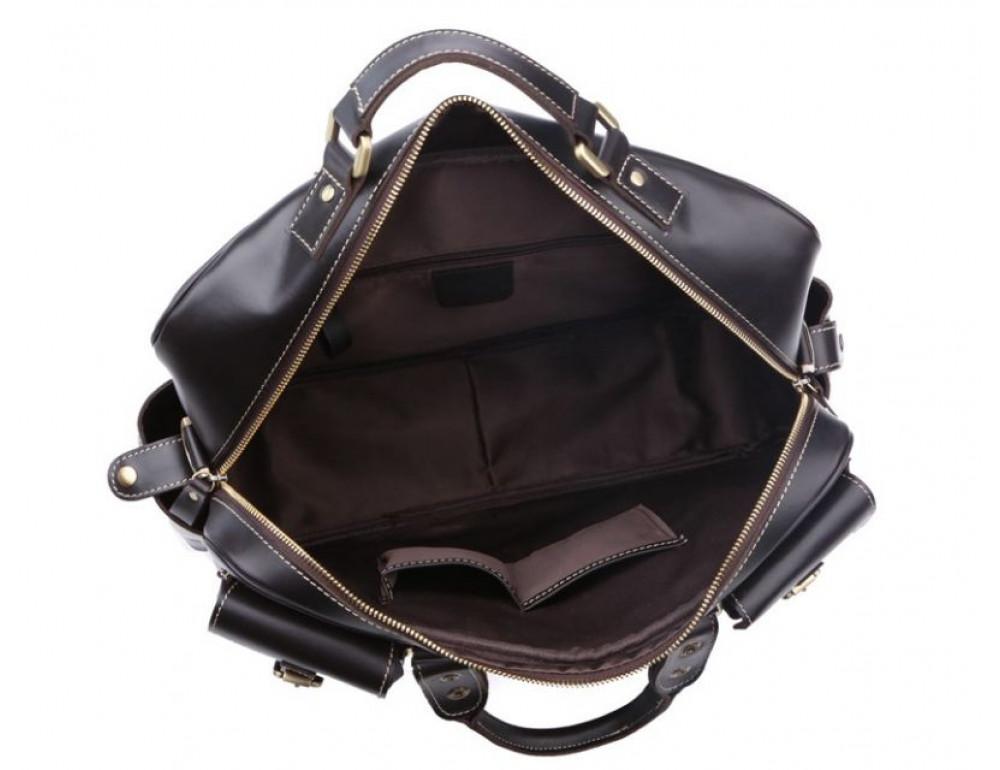 Кожаная мужская сумка TIDING BAG 7028A чёрный - Фото № 7