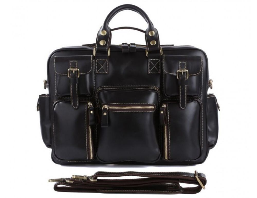 Кожаная мужская сумка TIDING BAG 7028A чёрный - Фото № 8