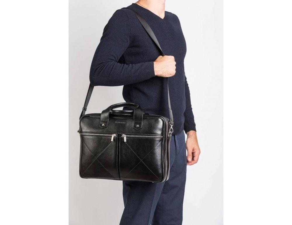 Кожаная мужская сумка черного цвета Blamont Bn012A - Фото № 2