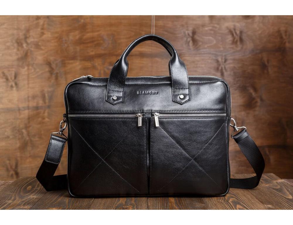 Кожаная мужская сумка черного цвета Blamont Bn012A - Фото № 3