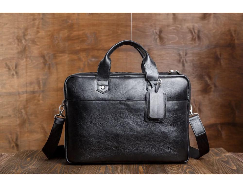 Кожаная мужская сумка черного цвета Blamont Bn012A - Фото № 4