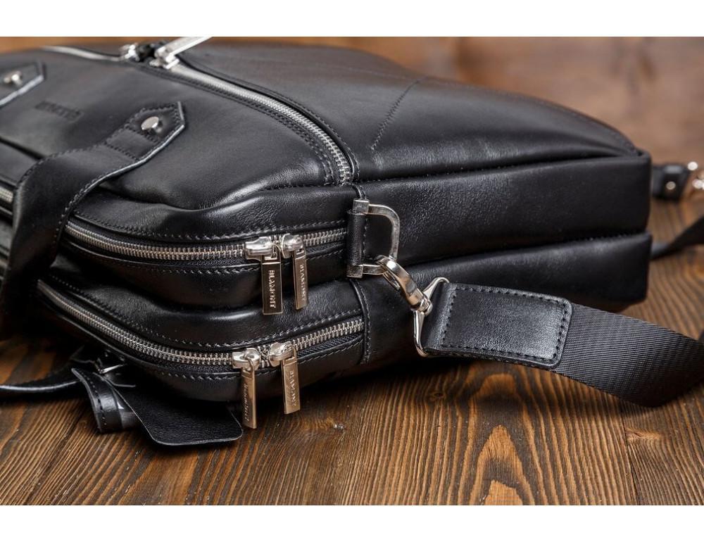 Кожаная мужская сумка черного цвета Blamont Bn012A - Фото № 5