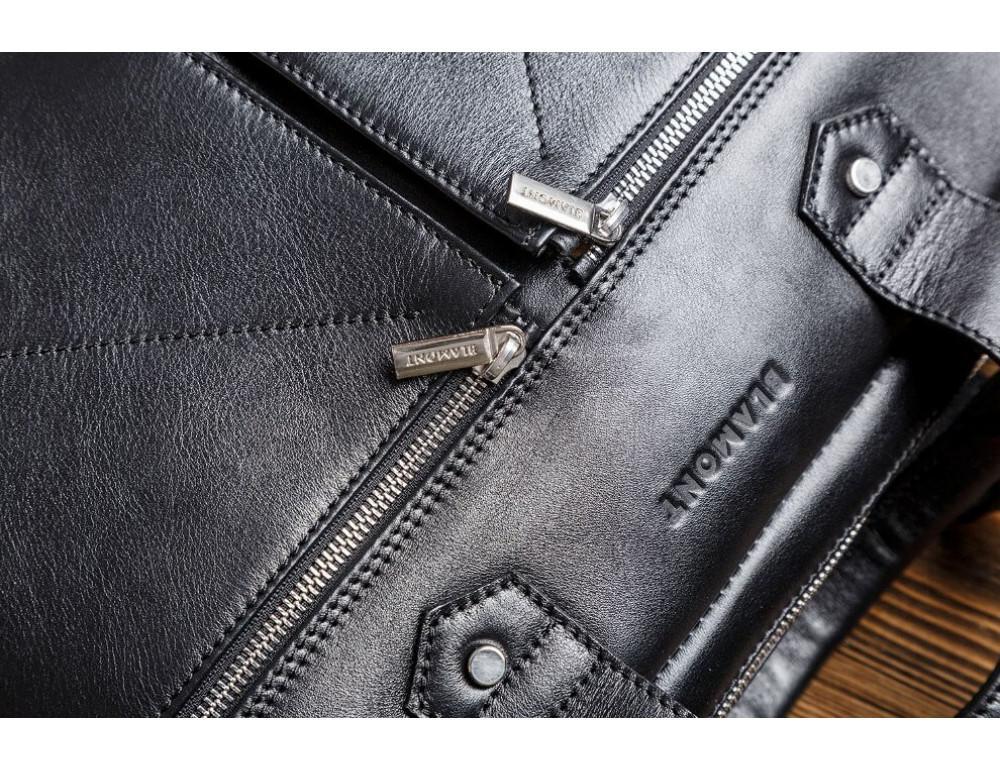 Кожаная мужская сумка черного цвета Blamont Bn012A - Фото № 6