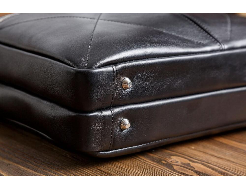 Кожаная мужская сумка черного цвета Blamont Bn012A - Фото № 7