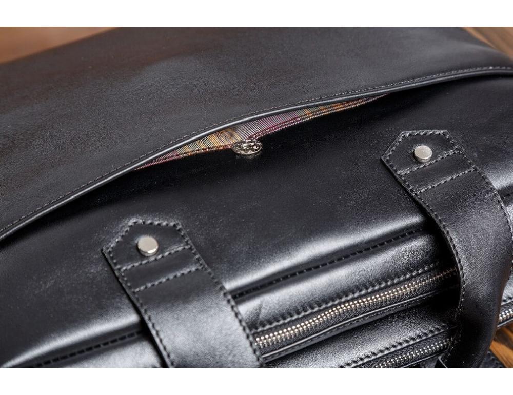 Кожаная мужская сумка черного цвета Blamont Bn012A - Фото № 8