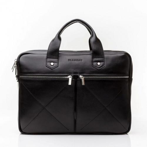 Шкіряна чоловіча сумка чорного кольору Blamont Bn012A