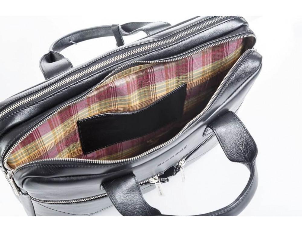 Кожаная мужская сумка черного цвета Blamont Bn012A - Фото № 11