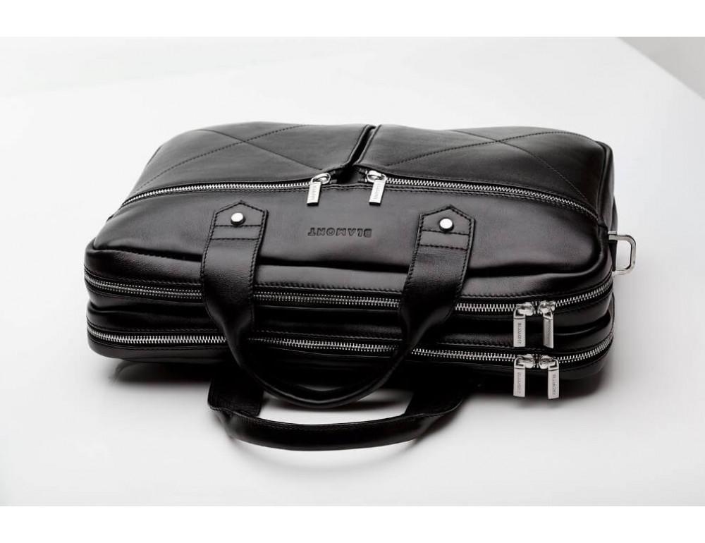 Кожаная мужская сумка черного цвета Blamont Bn012A - Фото № 14
