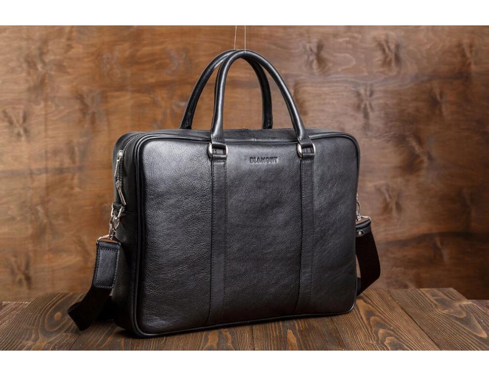 Мужская кожаная сумка черного цвета Blamont Bn022A - Фото № 9