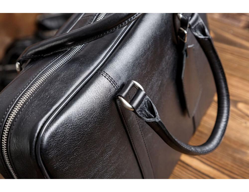 Мужская кожаная сумка черного цвета Blamont Bn022A - Фото № 6