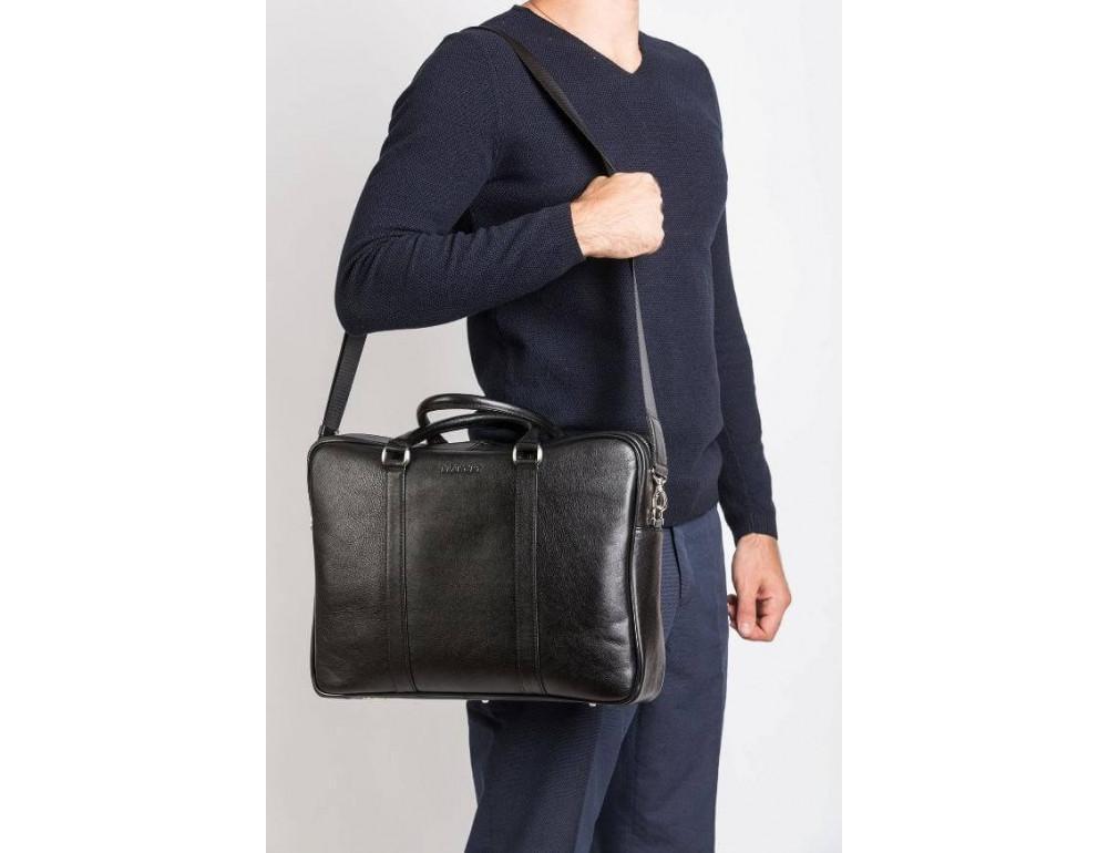 Мужская кожаная сумка черного цвета Blamont Bn022A - Фото № 2