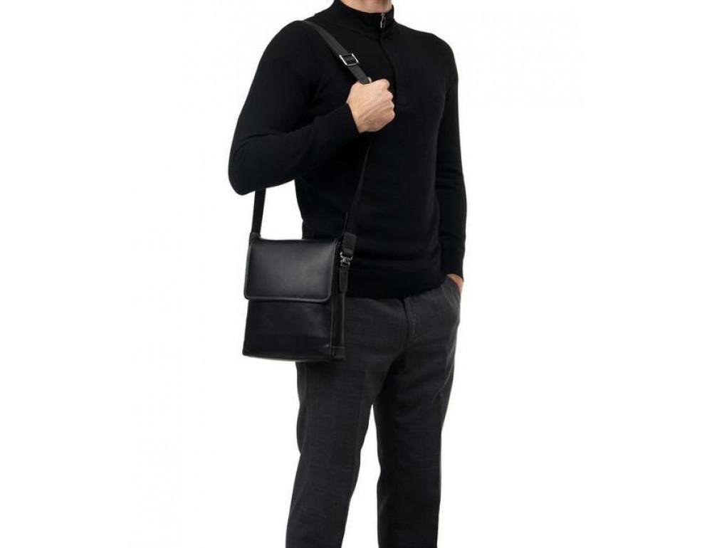 Чёрная сумка через плечо кожаная TIDING BAG M685-2A - Фото № 2