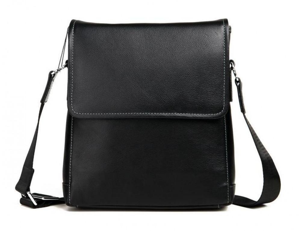 Чёрная сумка через плечо кожаная TIDING BAG M685-2A - Фото № 6