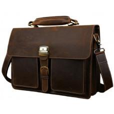 Мужской кожаный портфель TIDING BAG T10315 темно-коричневый