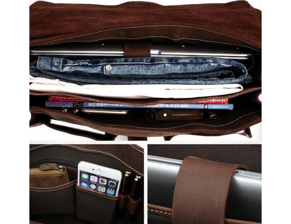 Мужской кожаный портфель TIDING BAG T10315 темно-коричневый - Фото № 2