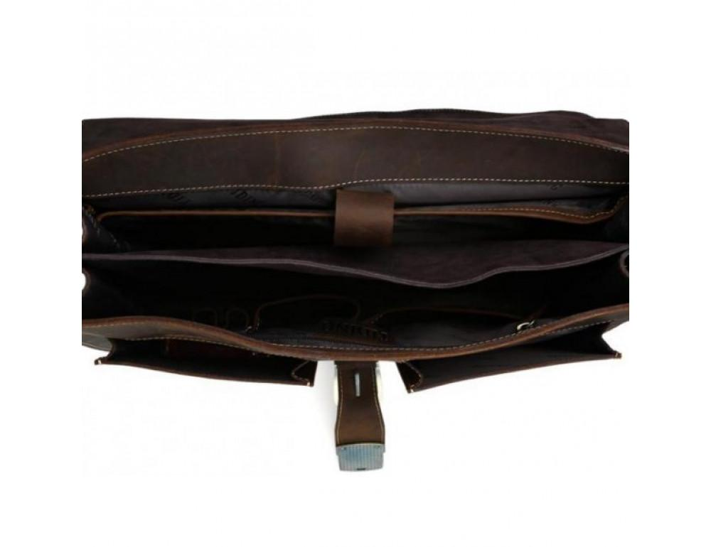Мужской кожаный портфель TIDING BAG T10315 темно-коричневый - Фото № 3