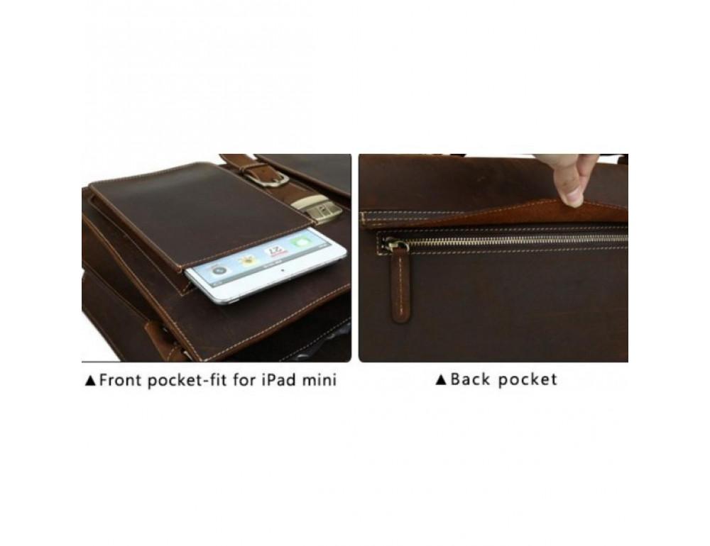 Мужской кожаный портфель TIDING BAG T10315 темно-коричневый - Фото № 4