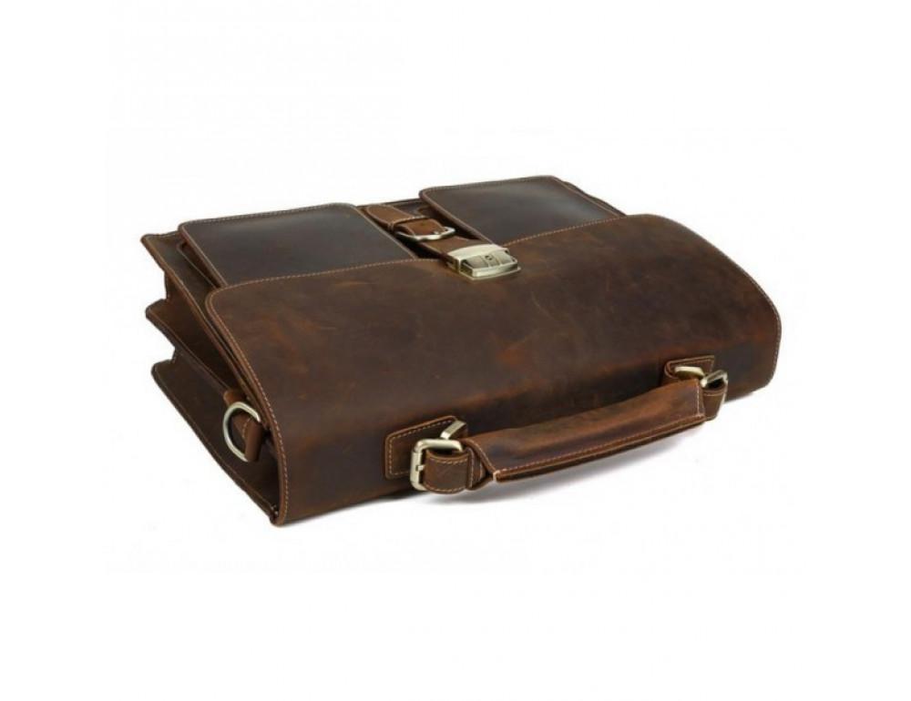 Мужской кожаный портфель TIDING BAG T10315 темно-коричневый - Фото № 5