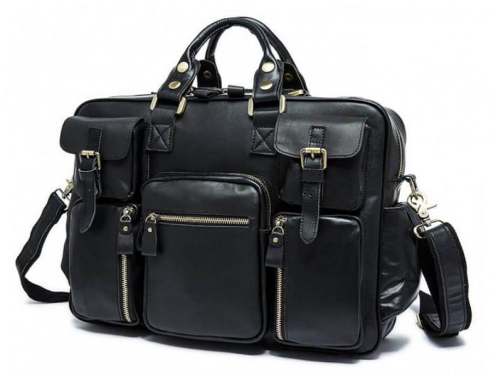 Кожаная сумка TIDING BAG 7028A-1 чёрная