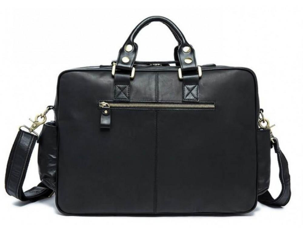 Кожаная сумка TIDING BAG 7028A-1 чёрная - Фото № 2