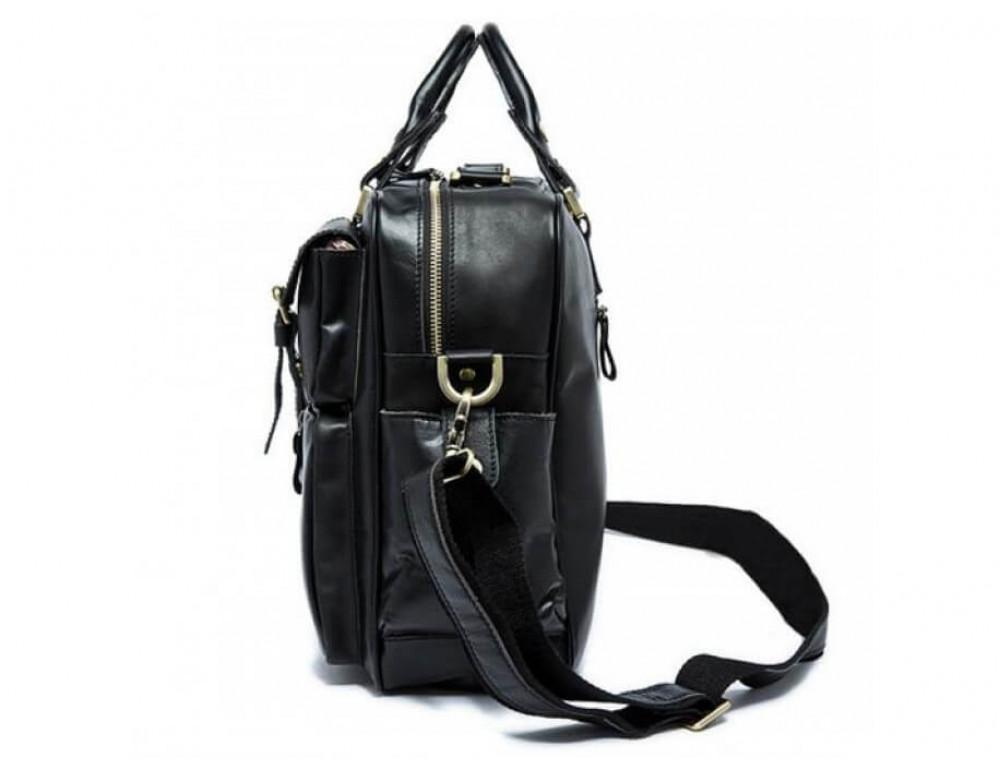 Кожаная сумка TIDING BAG 7028A-1 чёрная - Фото № 3