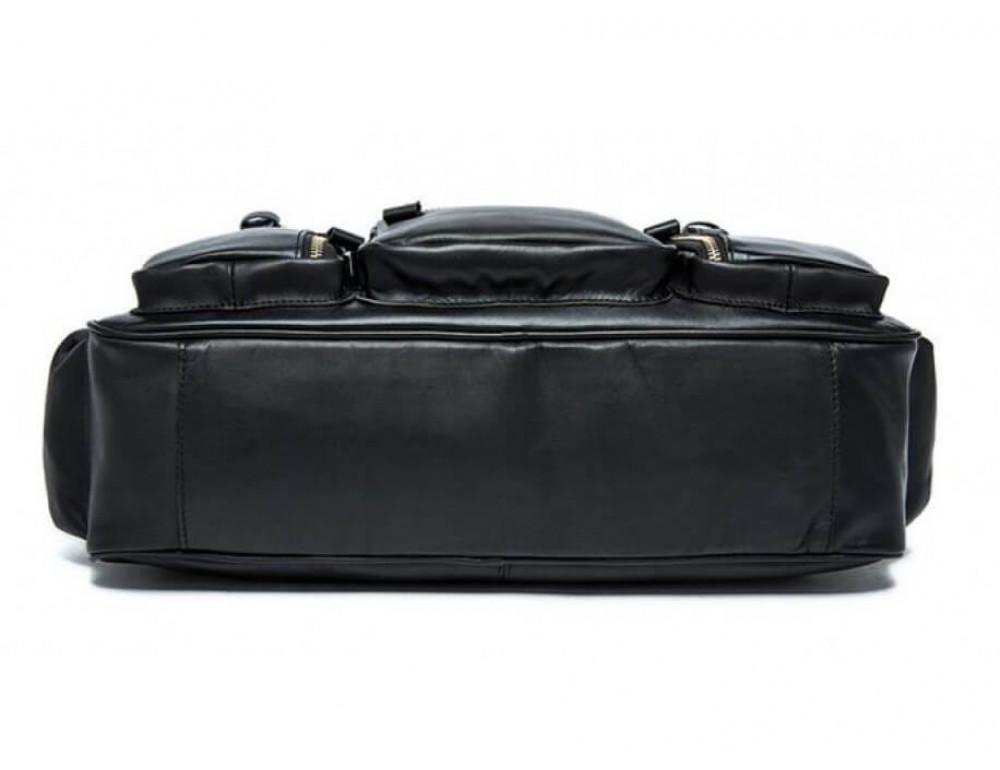 Кожаная сумка TIDING BAG 7028A-1 чёрная - Фото № 4