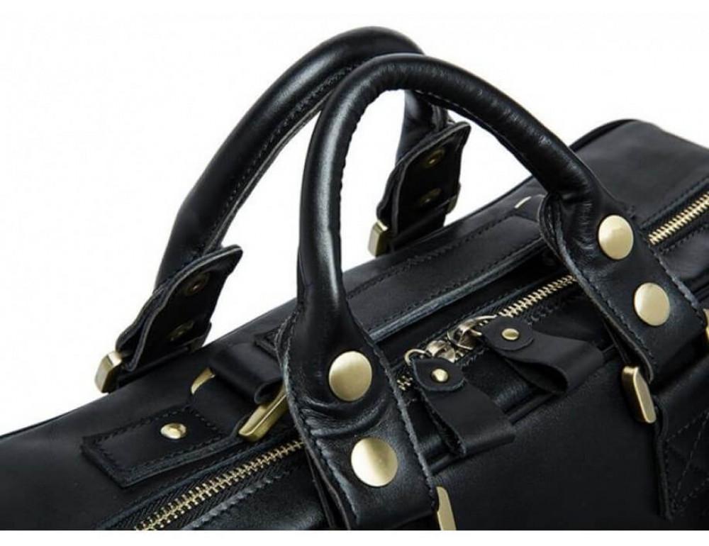 Кожаная сумка TIDING BAG 7028A-1 чёрная - Фото № 5