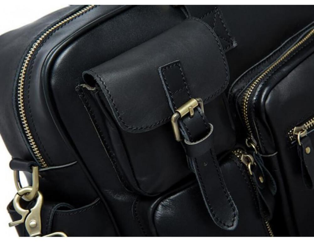 Кожаная сумка TIDING BAG 7028A-1 чёрная - Фото № 6