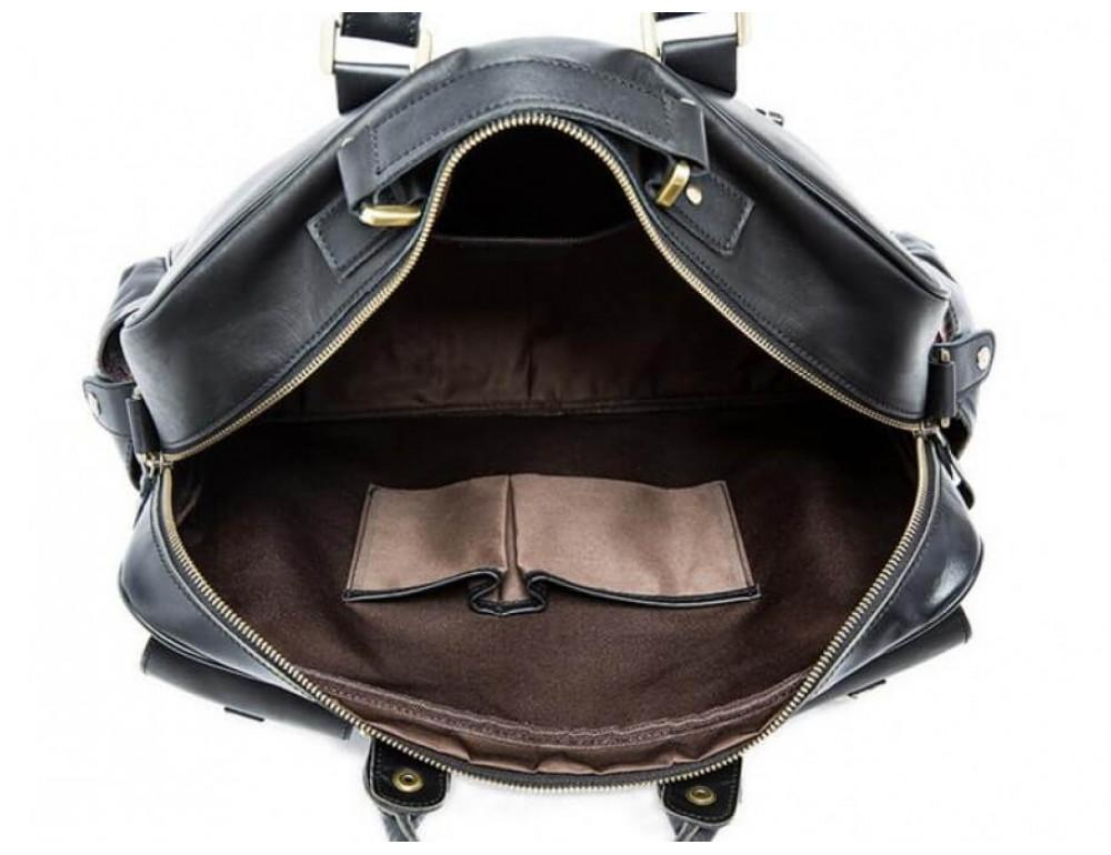 Кожаная сумка TIDING BAG 7028A-1 чёрная - Фото № 7