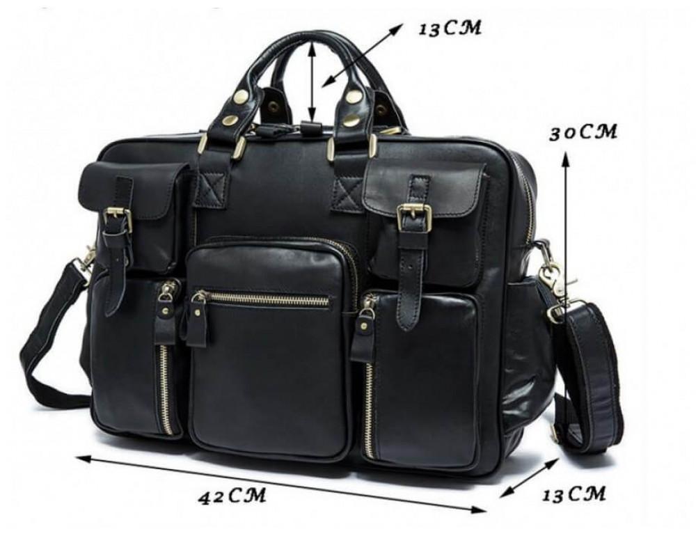 Кожаная сумка TIDING BAG 7028A-1 чёрная - Фото № 8