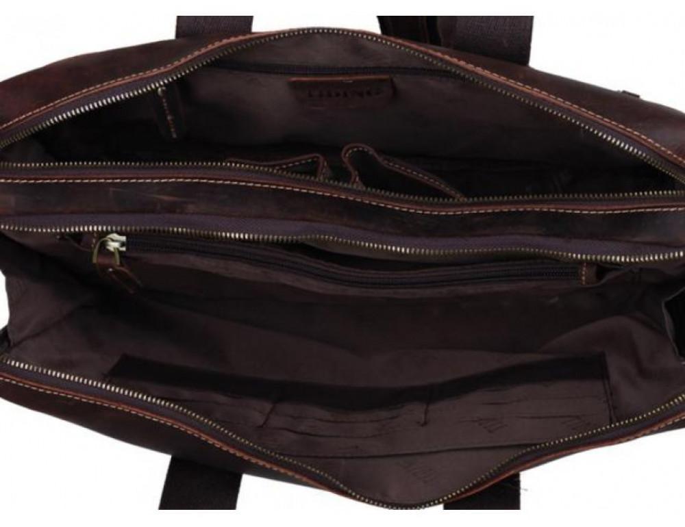 Кожаная сумка TIDING BAG 7167R коричневая - Фото № 3
