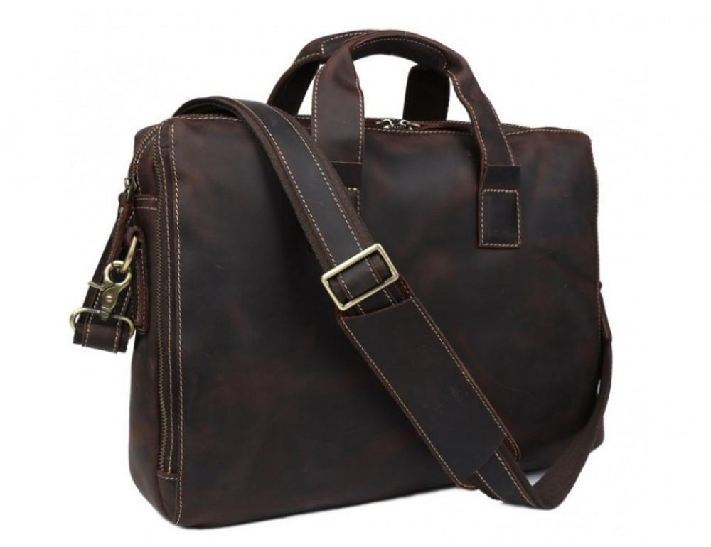 Кожаная сумка TIDING BAG 7167R коричневая - Фото № 1