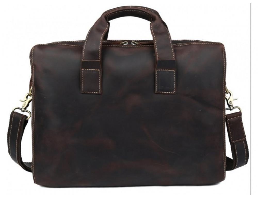 Кожаная сумка TIDING BAG 7167R коричневая - Фото № 2