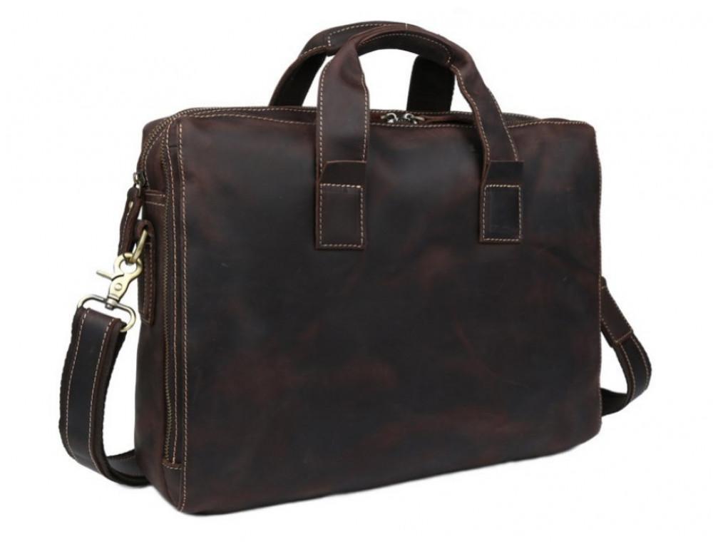 Кожаная сумка TIDING BAG 7167R коричневая - Фото № 4