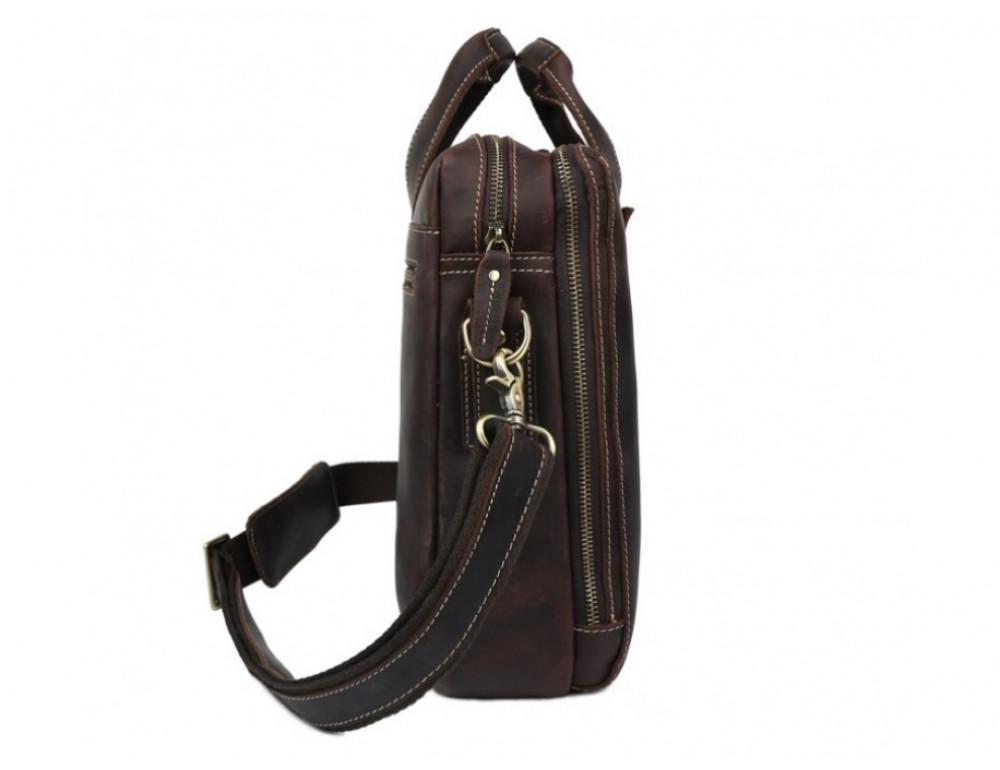 Кожаная сумка TIDING BAG 7167R коричневая - Фото № 5