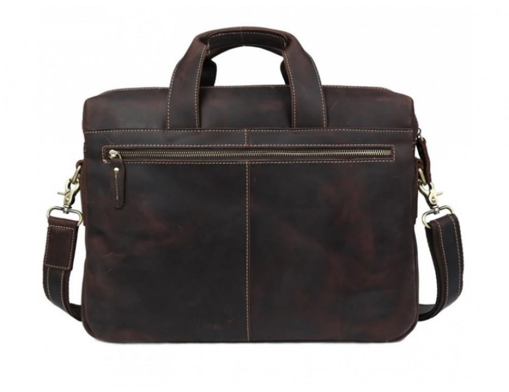 Кожаная сумка TIDING BAG 7167R коричневая - Фото № 6