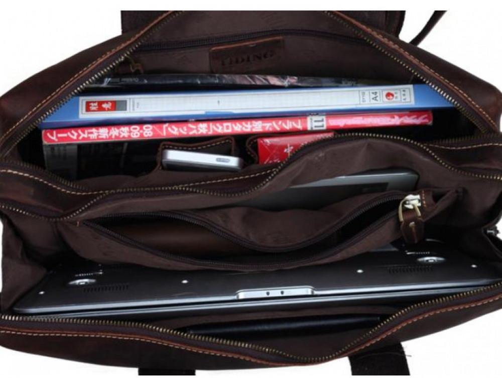 Кожаная сумка TIDING BAG 7167R коричневая - Фото № 7