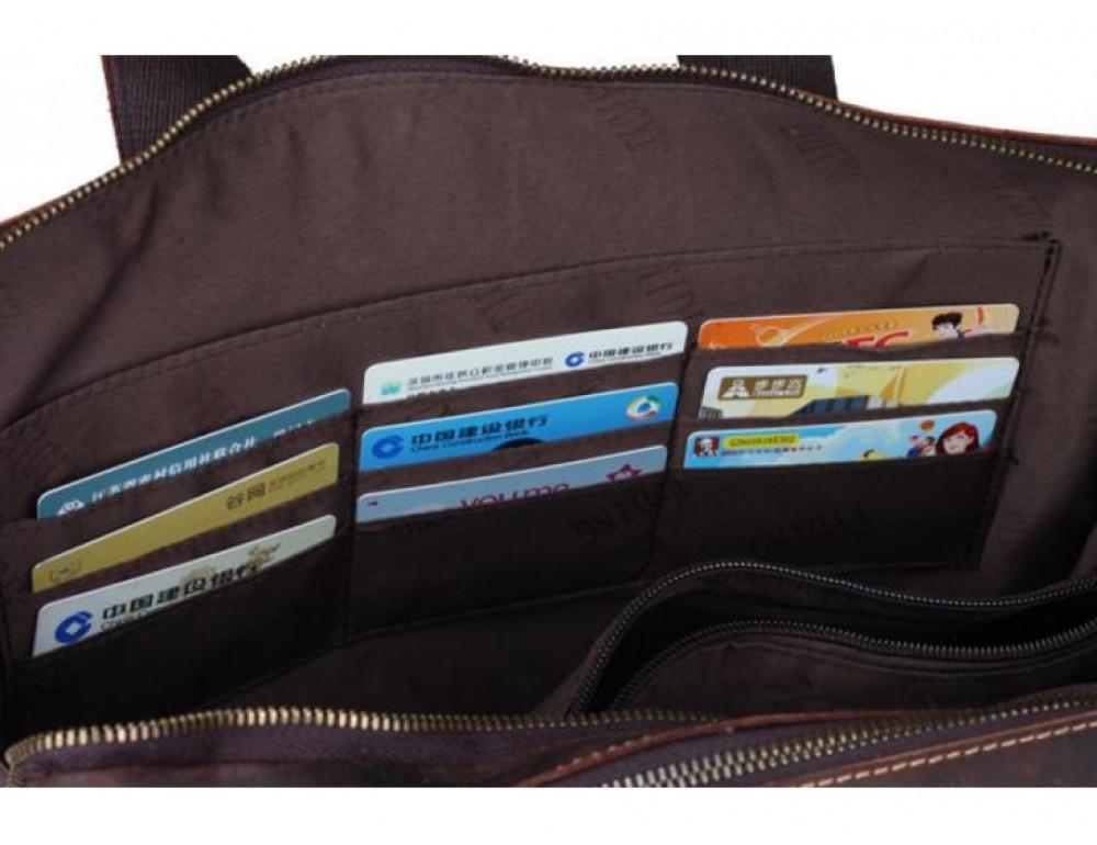Кожаная сумка TIDING BAG 7167R коричневая - Фото № 8