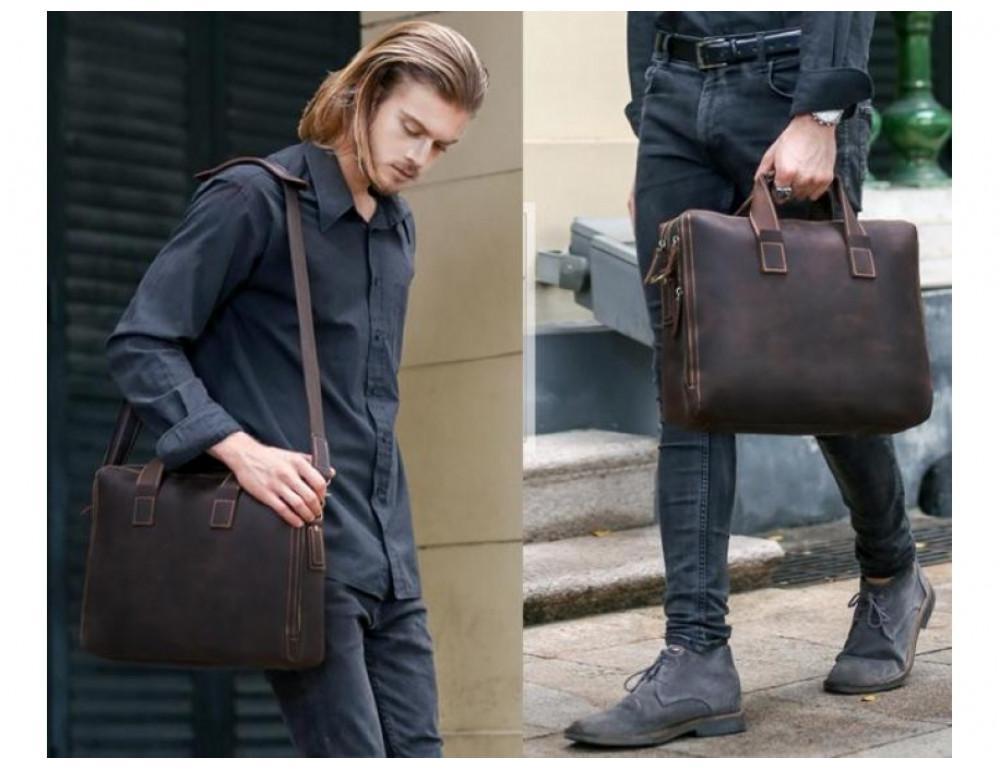 Кожаная сумка TIDING BAG 7167R коричневая - Фото № 9