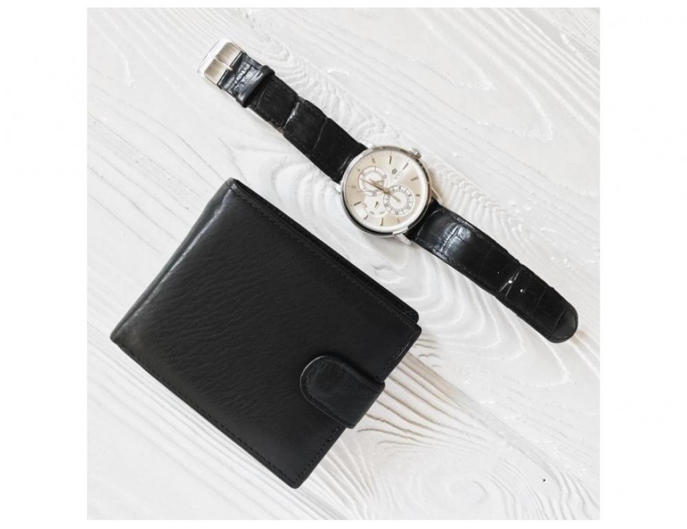 Кожаный портмоне Tiding Bag A7-638A чёрный - Фото № 3